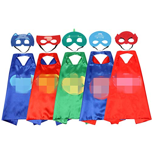 Comics Hero Pattern Cartoon Costume 5 Satin Cape with Felt Mask Set Dress Up Halloween Party for Children & Toddler for $<!--$19.99-->