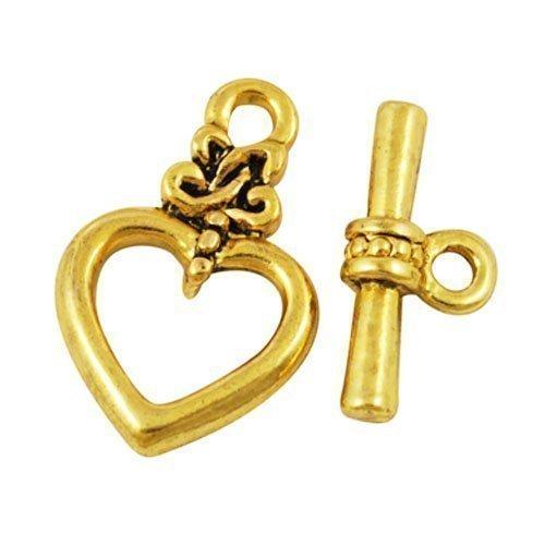 Charming Beads Pacco 10 x Oro Antico Lega Placcato 13 x 20mm Chiusura T-Bar - (HA02121) Something Crafty Ltd
