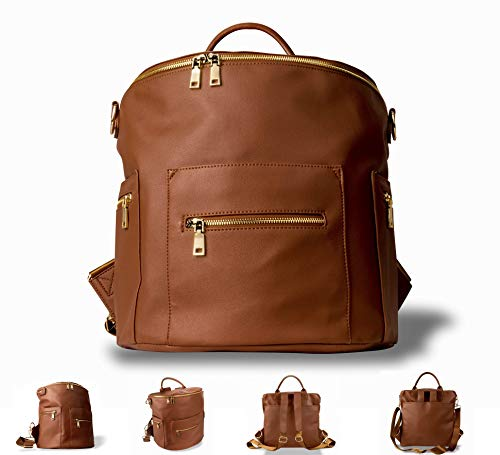 PU Leather Diaper Bag Backpack, Shoulder and Convertible Interchangeable, Large Designer Organizer Bag with Insulated Pockets and Wipe Pouch for Baby Mommy (Brown)