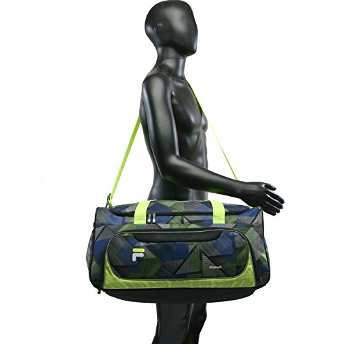 41zPbsqmllL - Fila Energy Md Travel Gym Sport Duffel Bag, Abstract Neon