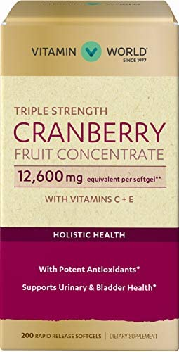 Vitamin World Triple Strength Cranberry Fruit Concentrate 12600mg 200 Softgel