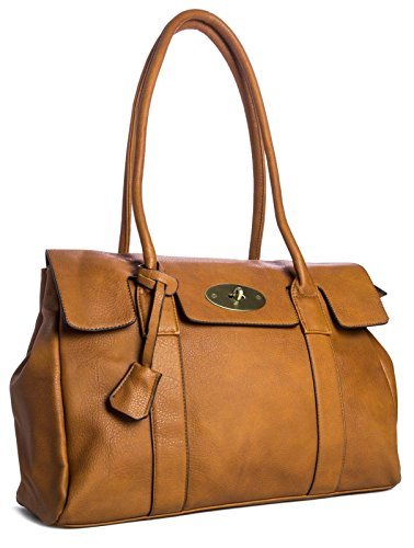Big Handbag Shop Womens Vegan Leather Top Handle Designer Boutique Tote Shoulder Bag - Large (Light Tan) ()