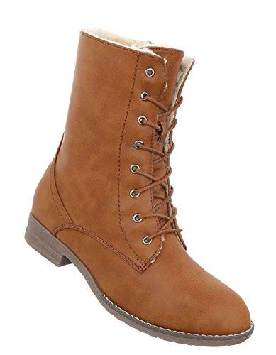 Schuhe Stiefeletten Schnürer Camel Gefütterte Boots Warm Damen Pd6qwfP