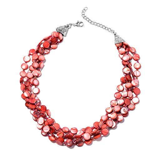 Shop LC Delivering Joy Bead Strand Chroma Necklace Red Shell and Glass Jewelry for Women ()