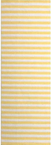 Diva At Home 2.5' x 8' Lakeshore Divisions Daffodil Yellow and Ivory White Area Throw Rug Runner