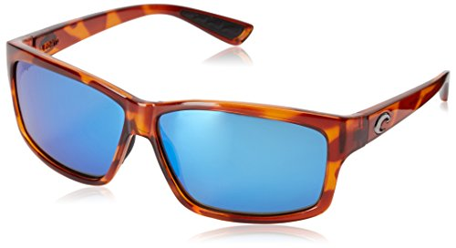 (Costa del Mar Cut Polarized Rectangular Sunglasses, Honey Tortoise/Blue Mirror 580 Glass)