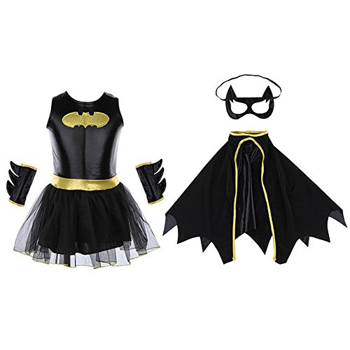 Teen Costumes - Halloween Cosplay Costume Super Heroes Child's Batgirl Costume Set Exemaba (L(Height 45.28-49.27