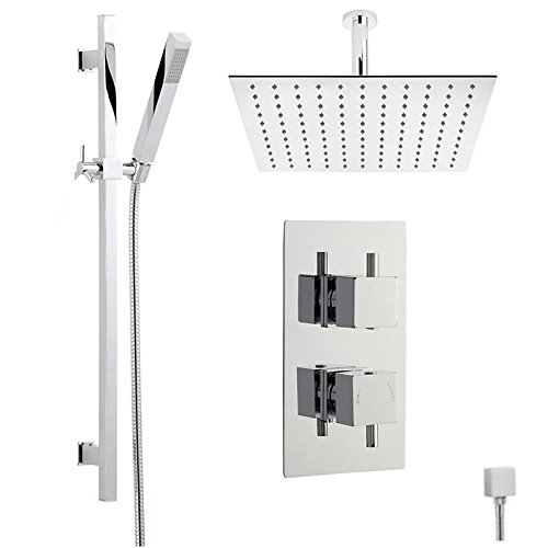 Square Thermostatic Shower (Astbury Twin Concealed Thermostatic Shower System with Diverter, Square Ceiling Head, Slider Rail Kit and Handset)