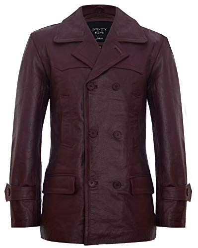 Mens Burgundy Cow Hide Leather Jacket Dr Who Naval German Pea Coat L