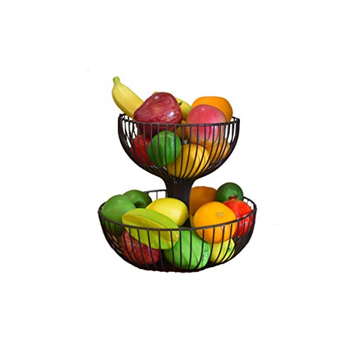BLRYP Fruit Tray Double Layer Wrought Iron Fruit Basket Candy Snack Storage Rack Fashion Creative Fruit Bowl Fruit Dish,Fruit Basket (Color : Bronze)