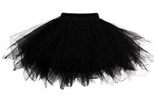 DJT Damen 52er Retro Rockabilly Swing Petticoat Ballett Tutu Unterrock Schwarz L