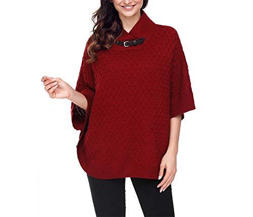 NOHOPE-Maglioni maglia da donna con collo a scialle/manica a pipistrello/manica a tre quarti/orlo a coste/maniche a kimono/top a maglia invernale