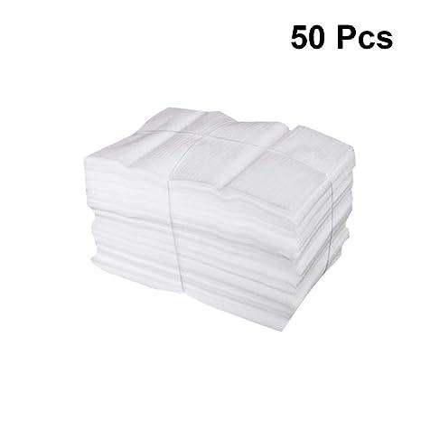 Toyvian 50 unids bolsas de espuma bolsas de envoltura de amortiguación para la protección de platos vasos botellas de vino envío blanco 25x30 cm