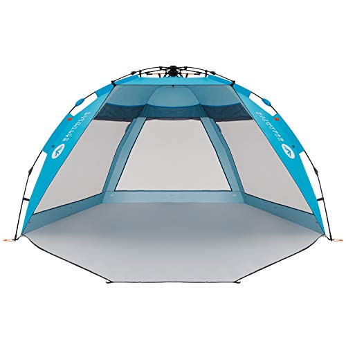 Easthills Outdoors Coastview Ultra 4-5 Person Family Sun Shelter Ultra Large Quick Setup Instant Anti UV Double Silver Coating Beach Tent with Extended Door & Window Pacific Blue ()