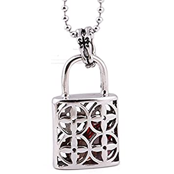 d7545f2e8364 Amazon.com  usongs fashion creative personality sportsman lock Ms steel  necklace pendant containing Jacinth Accessories  Home   Kitchen