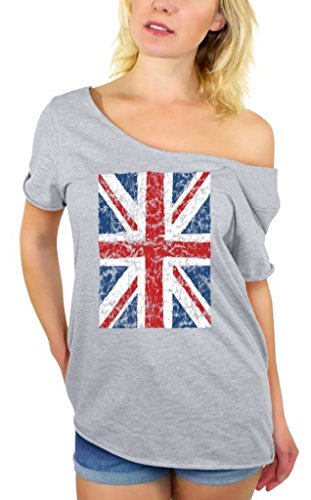 Awkwardstyles Women's Union Jack Flag Off Shoulder Tops T-Shirt + Bookmark S Gray