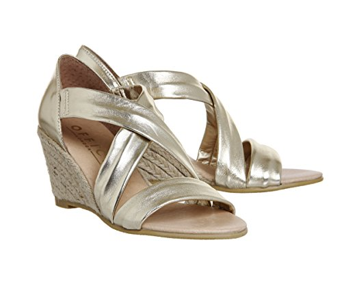 Office Gold Leather Cross Metallic Strap Wedges Maiden rqnIAFwr