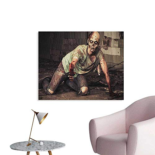 (Anzhutwelve Zombie Photo Wall Paper Halloween Scary Dead Man in The Old Building with Bloody Head Nightmare Theme Poster Paper Grey Mint Peach W36)