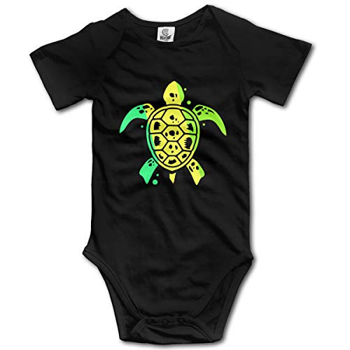 Sea Turtle Unisex Solid Baby Short Sleeve One-Piece Coverall 0-24M Black ()