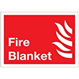 Fire Blanket Sticker 10cm x 14cm - Health and Safety Fire Sign - Premium Self Adhesive Laminated Notice