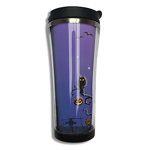 XLF-K2 Vacuum Insulated Leak Durable Portable Stainless Steel Travel Coffee Mug For Home Office School Ice Drink Hot Beverage Cup Halloween Designed Black]()