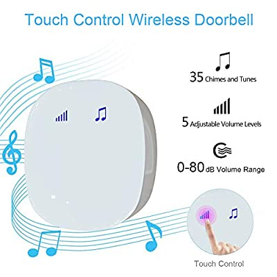 Wireless Doorbell Kit, Beeasy Touch Control Waterproof Door Bell Chime Kit, Wireless Remote Push Button Doorbell with Plug-In Receiver, Easy Setup for Home, Classroom and Office, White