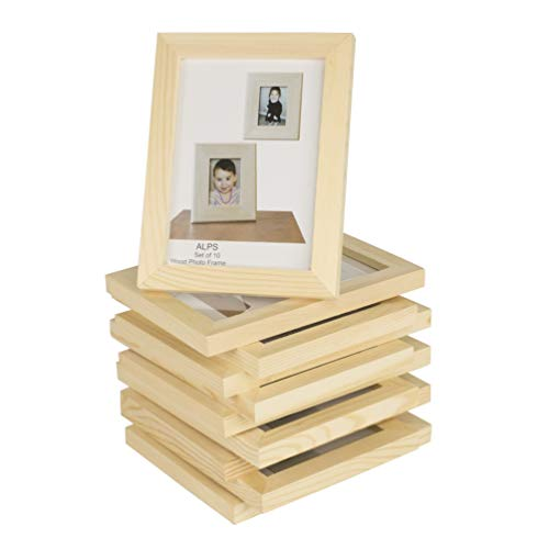 Wallniture Alps DIY Projects Unfinished Solid Crafting Wooden Picture Frames for 4x6 Inch Photos Set of 10