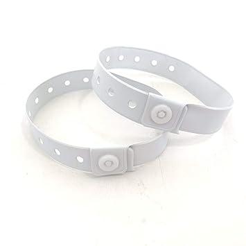 8736af0d0fa5 Lote de 100 pulseras plástico/vinilo para eventos – personalizable e  impermeable, color blanco