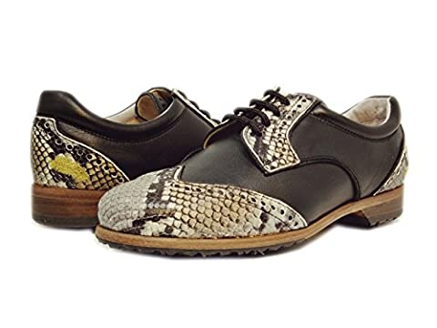 Premium Ladies Golf Shoe | Softspikes Leather sole | Waterproof | Summer 2017 Collection | DERBY (40.5 EU 9.5 B(M) US, SNAKE NAPPA DERBY - Genuine Snake Footwear