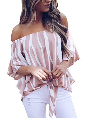 (Actloe Women Casual Off The Shoulder Striped Printed Shirts Bell Sleeve Front Tie Knot Blouses Petite Tops Pink S)