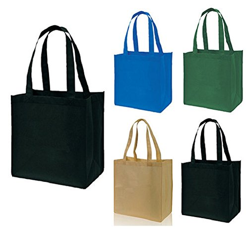Small Recycled Shopper Tote Bag Non-Woven Full for Groceries, Books, Lunch, Toys (1, Black) - Recycled Shopper Tote