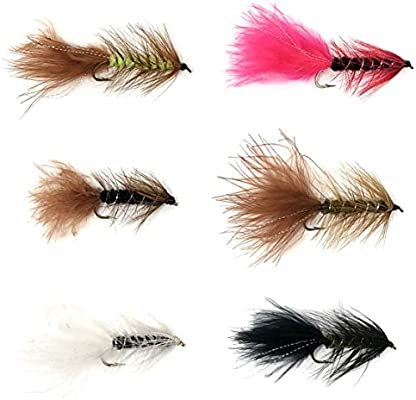 Sold per 6 Freshwater Woolly Bugger Brown Flash Size 6