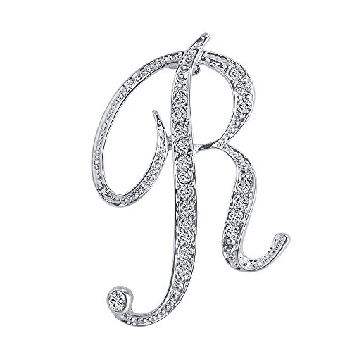 Vivilly 1Pcs English Letters Silver Plated Metal Clear AAA+ Crystal Lapel Pin Brooches Collar (R) ()