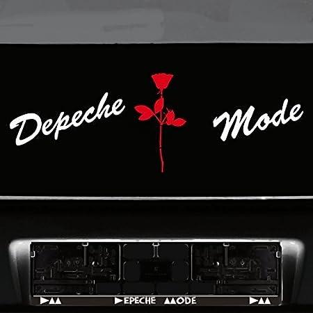 Greenit Set Schreibschrift Schriftzug Und Rose Aufkleber Tattoo Die Cut Car Decal Auto Heck Deko Folie Depeche Mode Weiss Rot Auto