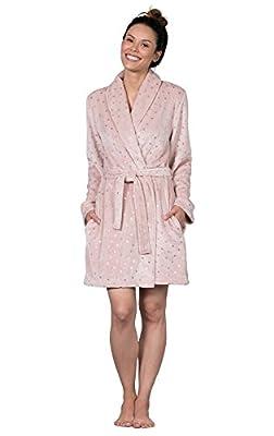 PajamaGram Ultra-Soft Start Dust Short Wrap Robe For Women, Pink