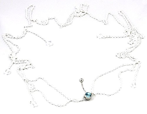 Body Accentz trade; Belly Button Ring Navel Body Jewelry Dangle Waist Chain 14 Gauge