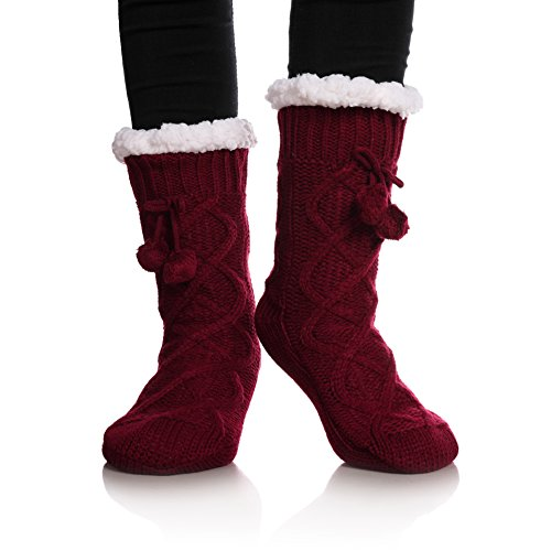 YEBING Women's Cable Knit Super Soft Warm Cozy Fuzzy Fleece-lined Winter Slipper Socks (Wine Red) (Woven Socks Kids)