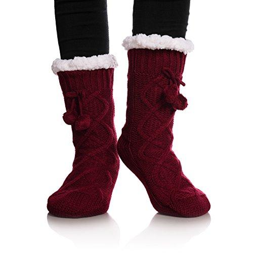 YEBING Women's Cable Knit Super Soft Warm Cozy Fuzzy Fleece-lined Winter Slipper Socks (Wine Red) (Woven Kids Socks)
