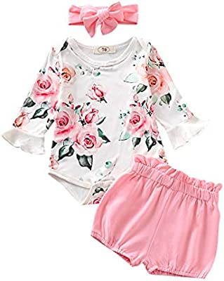 0-24M Newborn Infant Baby Girls Tops Romper Trousers Pants Outfit Set Clothes