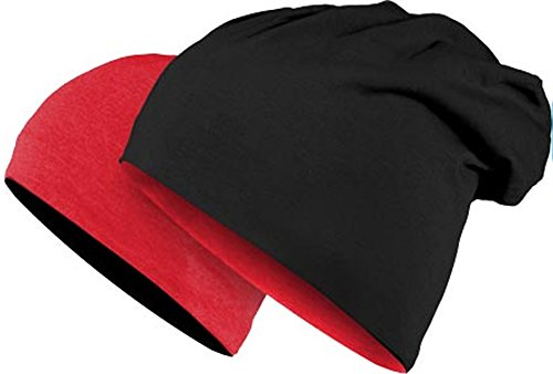 Master Dis Jersey Reversible Beanie 10 Colours Beany Hat Wool Wolle Wollmütze(Red Black)