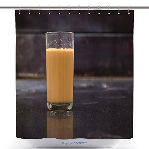 vanfan-Polyester Shower Curtains Hot Masala Tea Masala Chai Teh Tarik Kerala India Evening Tea Refreshing Indian Blend Polyester Bathroom Shower Curtain Set Hooks(36 x 72 inches)