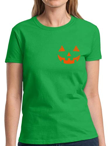 Pekatees Jack O'Lantern Shirts for Women Cute and Easy Pumpkin Halloween Costume Green M