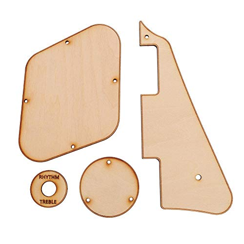 Vbestlife 1set Maple Wood LP Guitar Pickguard/Cavity /Switch Covers/Pickup Selector Plate/Bracket/Screws for LP Guitar Style