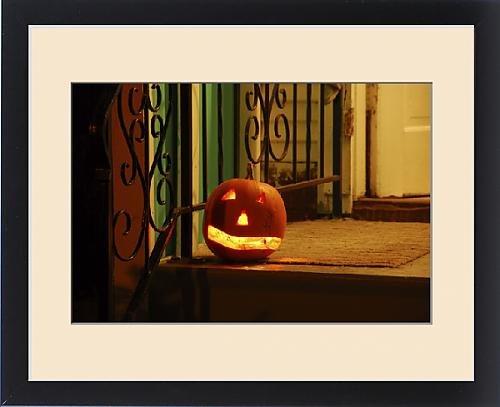 Framed Print of USA, Oregon, Portland. Lighted jack-o-lantern on front porch awaiting trick or (Halloween Costumes Portland Or)