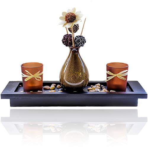 (Simply Lily - Large Candlescape Centerpiece & Tea Light Candle Holder Set for Coffee Tables, Dining Rooms & Bathrooms | Gorgeous Modern Rustic Home Decor with Polished Stones and Decorative Vase)