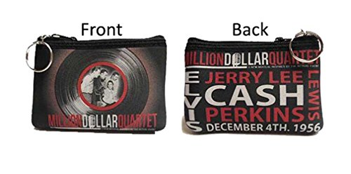 Elvis Presley Cute Coin Purse with Key Chain, Million Dollar Quartet (Black)