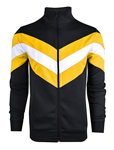 SCREENSHOTBRAND-F11855 Mens Urban Hip Hop Premium Track Jacket - Slim Fit Cut&Sew Color Block Fashion Top-BK/GD-Medium by SCREENSHOT