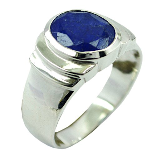 (Genuine Lapis Lazuli Ring For Women Round Shape Sterling Silver Fashion Jewelry Size 5,6,7,8,9,10,11,12)
