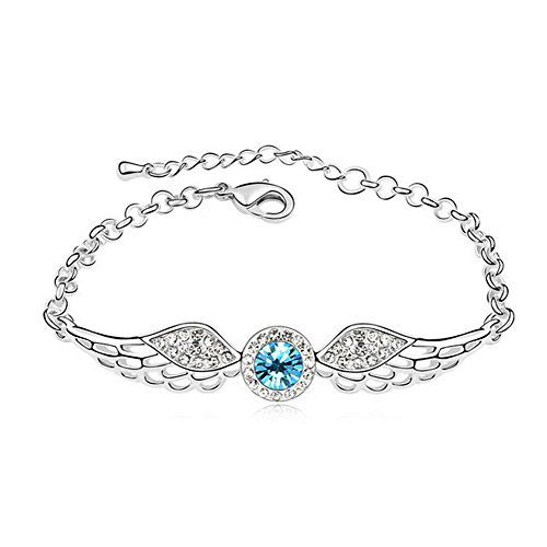 Price comparison product image The Starry Night Clean Blue Diamond Accented Angles Wing Silver Bracelet For Fashion Womens Girls