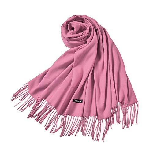Solid Color Tassel Shawl Elegant Casual Scarf for Wedding Party Evening Dress (Summer Infant Bed Rail Pink)
